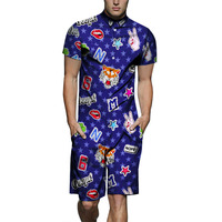 Fashion Romper Mens Jumpsuit Casual Short Sleeve Short Rompers Summer Hawaiian Shirts&shorts Coverall Bodysuits