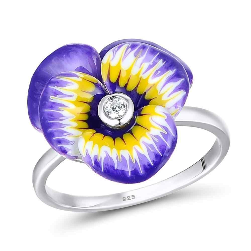 Santuzza Schmuck Set HANDMADE Emaille Lila Blume CZ Stein Ring Ohrringe Pendent Halskette 925 Sterling Silber Frauen Schmuck Set