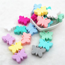 Chenkai 50pcs BPA Free Silicone Butterfly Teether Beads DIY Baby Animal Teething Montessori Sensory Jewelry Making Toy