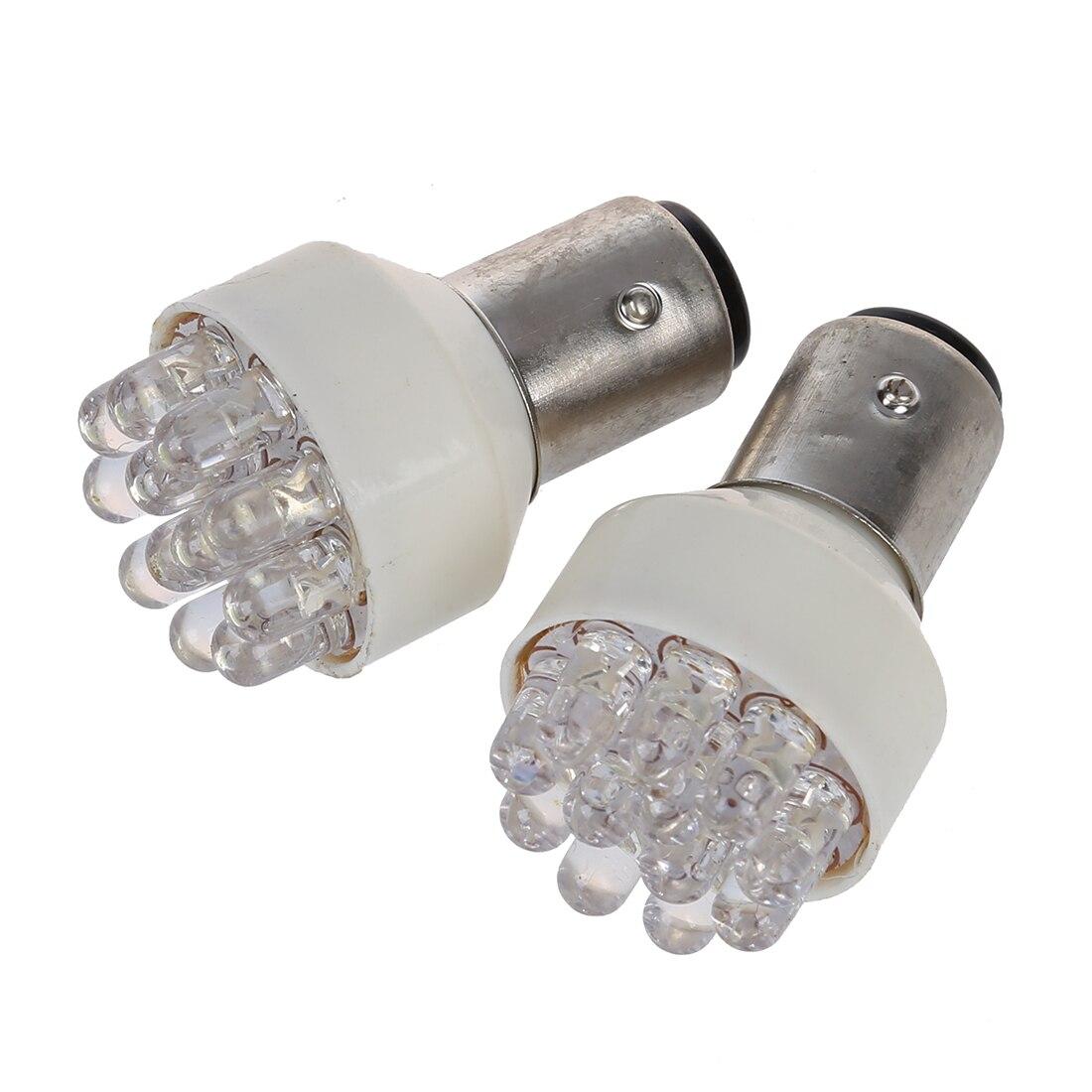 2 X BAY15D 1157 T25 12 LED Car Tail Stop Turn Signal Lights Bulbs White