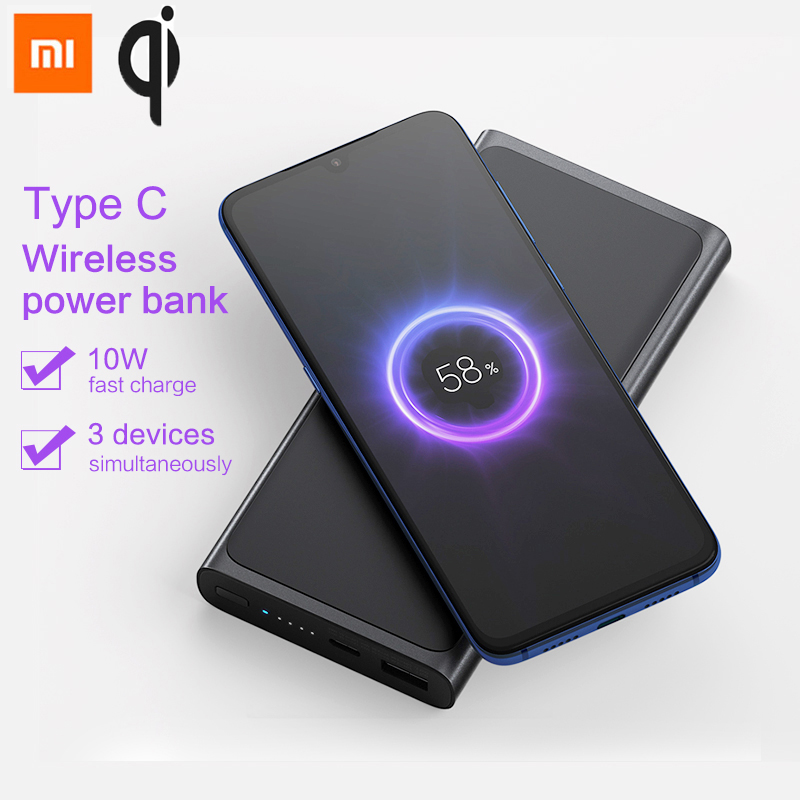 Xiaomi 10000 mAh banco de energía inalámbrico de 10 W Qi rápido cargador inalámbrico 5 V/3A USB tipo C portátil banco de energía para teléfono puede tomar en el avión