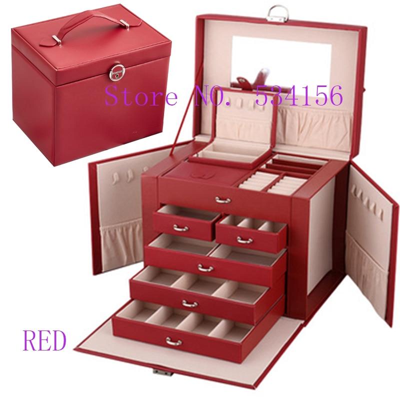 2019 date de luxe pratique en cuir boîte à bijoux boucles d'oreilles collier pendentif bijoux affichage cadeau boîte d'emballage Portable boîte-cadeau