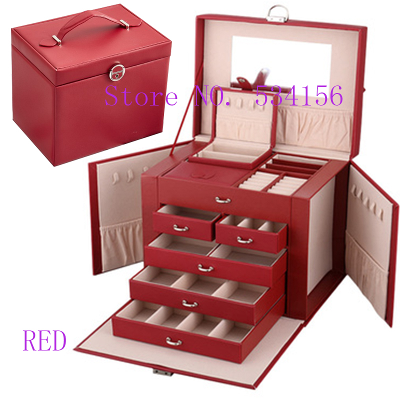 2019Newest Luxury Practical Leather Jewelry Box Earrings Necklace Pendant Jewelry Display Gift Packaging Box Portable Gift Box