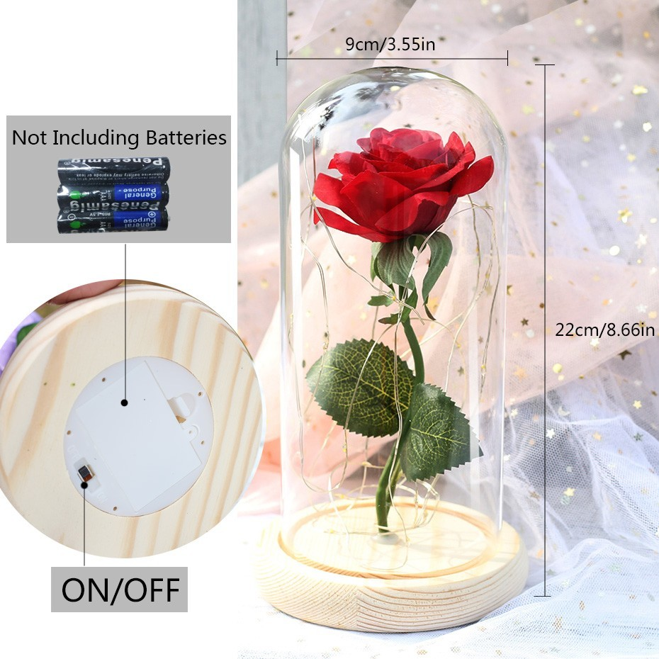 Image 5 - Beauty And Beast Rose In Flask LED Rose Flower Light Black Base Glass Dome Best For Mother's Day Valentines Day Gift-in Artificial & Dried Flowers from Home & Garden