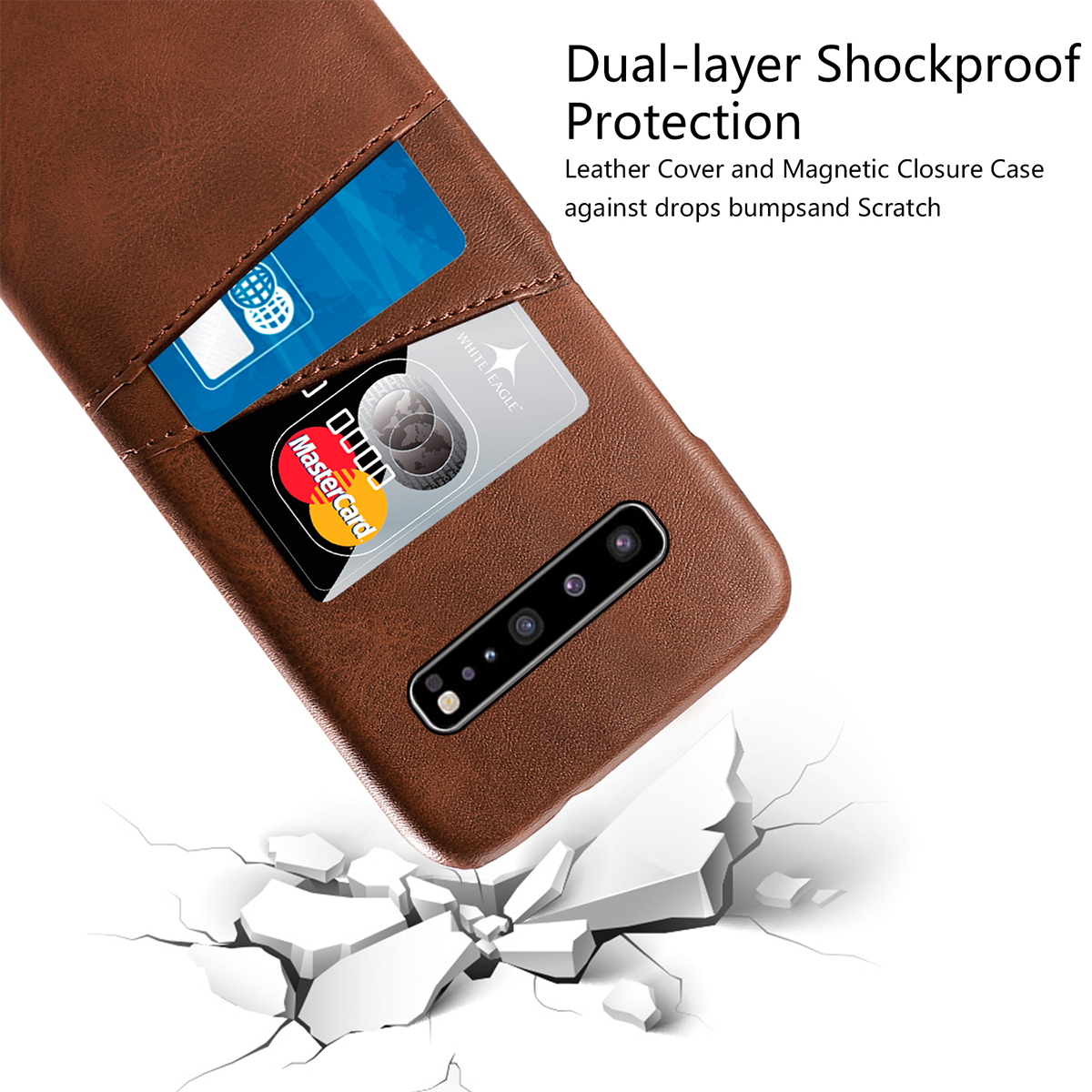 For Samsung Galaxy S10 5G Case Calf Grain PU Leather Hybrid PC Back Cover with 2 Card Slots Protective for Samsung S10 5G Case in Fitted Cases from Cellphones Telecommunications