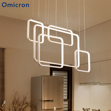 Omicron Led Line Pendant Lights Wihte Creative Geometric Lamp For Restaurant Kitchen Decor Light Home Lighting