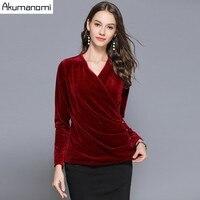 Autumn Spring Velve Velour Shirt Blouse Brown V neck Full Sleeve Tops Women's Clothes Overclothes Plus Size 5XL 4xl 3xl 2xl Xl M