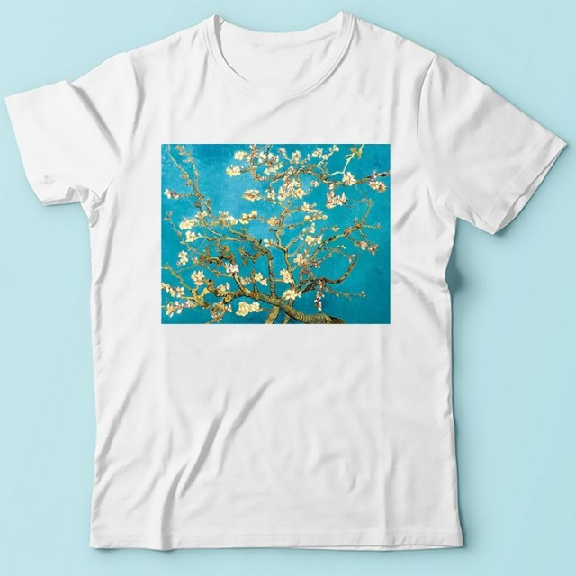 Vincent van Gogh almond tree in blossom artist t shirt men jollypeach brand new white short sleeve casual homme cool tshirt