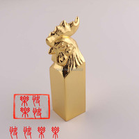 Fashion Top Quality Chinese Style Chicken 24 Karat Gold Plated Personality Seal Stamp For Birthday Gift