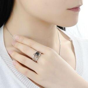 Image 5 - SANTUZZA Conjunto de joyería para mujer, conjunto de pendientes y anillo de araña negra, de Plata de Ley 925 pura, joyería