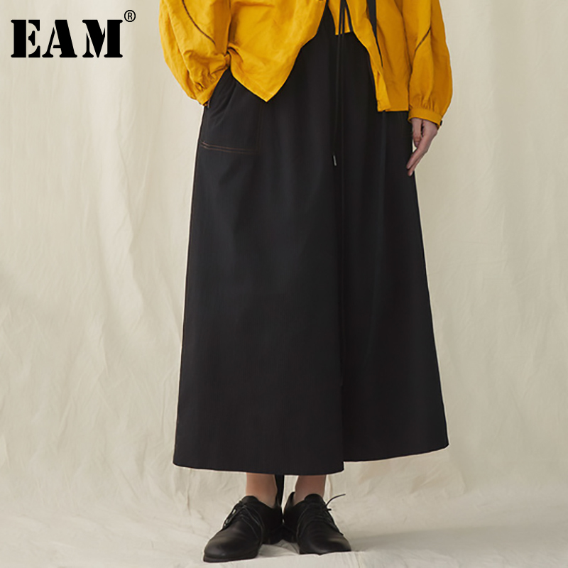 [EAM] 2019 New Spring Summer High Elastic Waist Loose Black Brief Long Wide Leg Pants Women Trousers Fashion Tide JR399