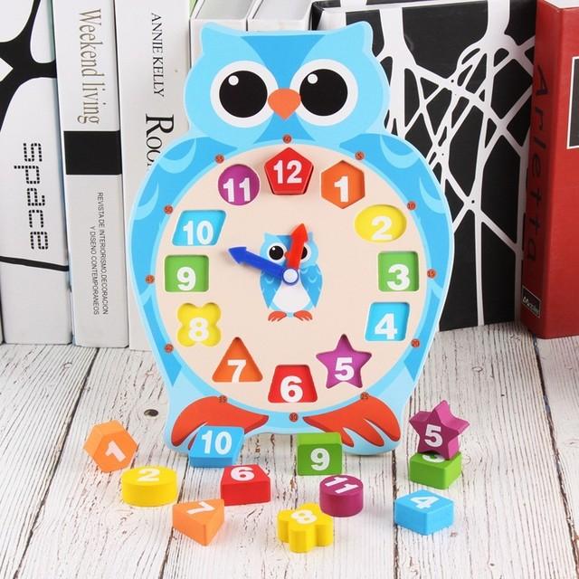 Cartoon Frog Owl Clock Wooden Toys For Children Early Learning Educational Preschool Digital Clock For Toddler