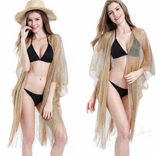 Women Girls Beachwear Bikini Cover Up Solid Color Summer Hot Ladies Gold Black Blouse Summer Top Transparent
