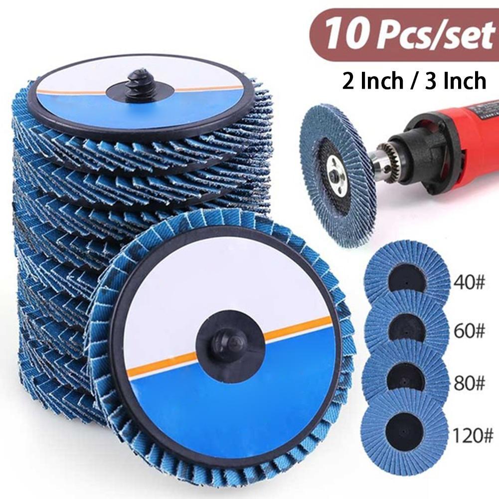 10 pces 2/3 Polegada 40/60/80/120 grit rolo bloqueio disco aleta moagem lixamento roda alta densidade zircônia alumina #35
