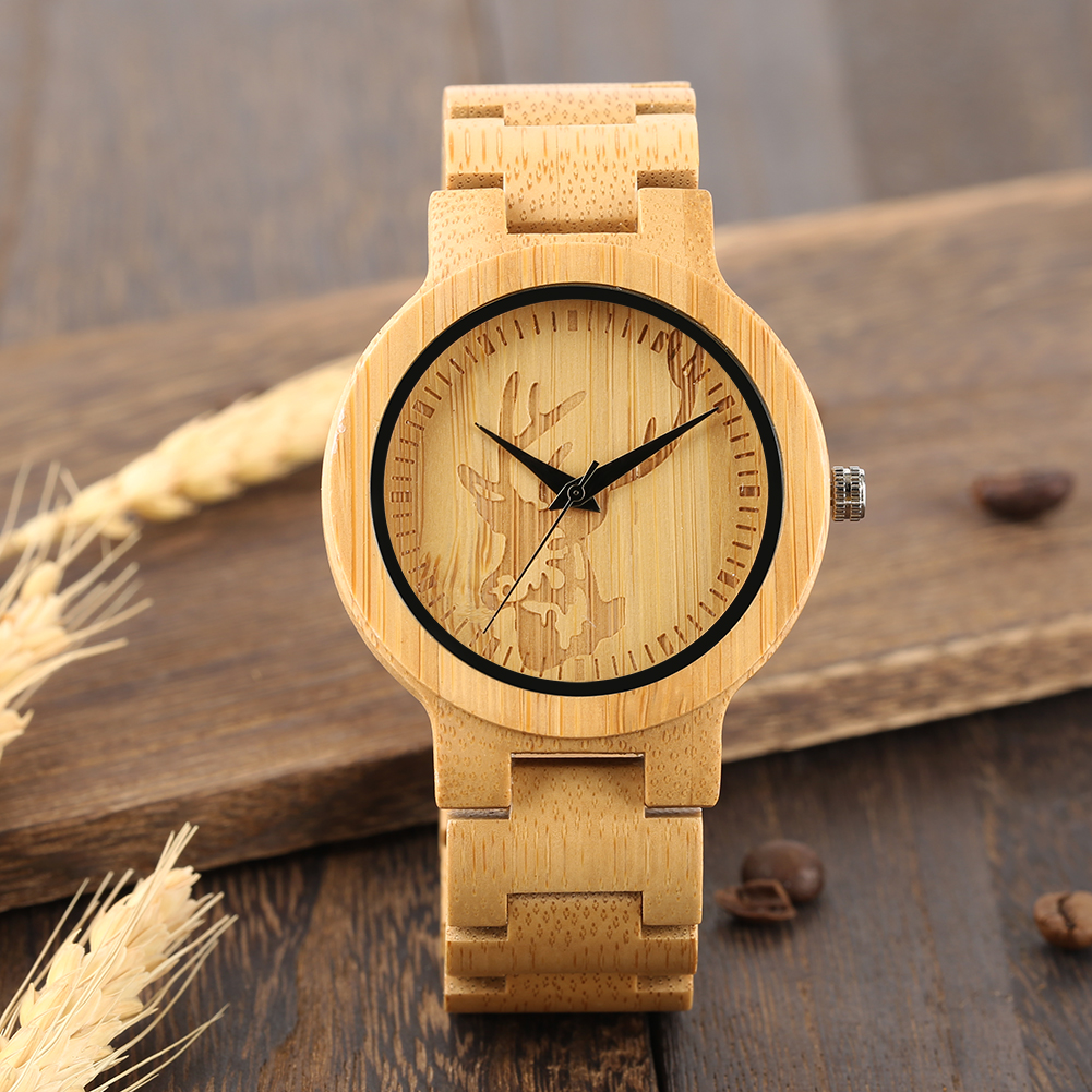 YISUYA Luxury Wooden Watches Vintage Analog Quartz Handmade Bamboo Wood Band  Deer Head Carving Wood Watch for Kids RelojYISUYA Luxury Wooden Watches Vintage Analog Quartz Handmade Bamboo Wood Band  Deer Head Carving Wood Watch for Kids Reloj