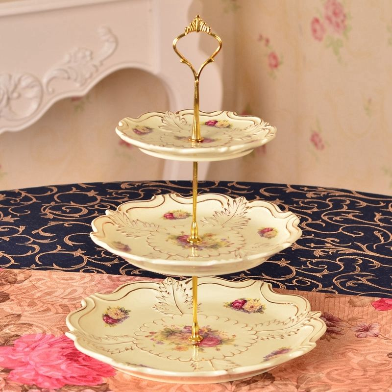 3 Tier Crown Cake Cupcake Plate Stand Handle Hardware Fitting Holder DIY Cakes Plated Shelf Casual Party Plate Holder Stand Only