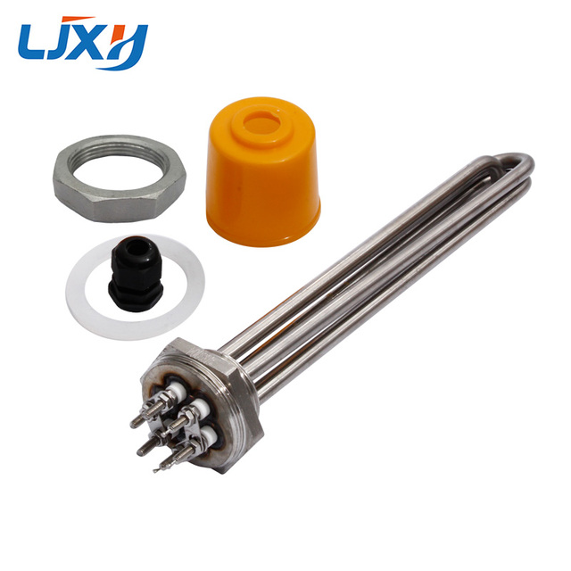 """Ljxh elemento de aquecimento dn32, 220v/380v para água 1.2 """"42mm fio aquecedor de água imersão tubo todos os 304 aço inoxidável com fechadura"""