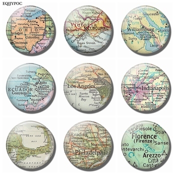 Ohio Melbourne Williamsburg Ecuador Los Angeles Indianapolis Cape Cod Philadelphia Florence Map Souvenir Fridge Magnets Stickers image
