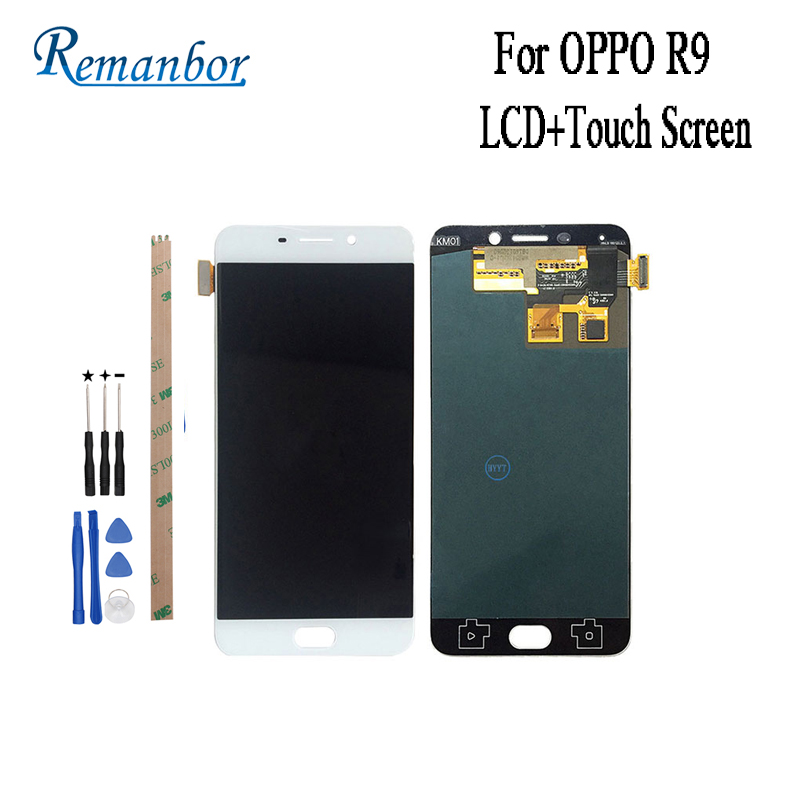 Remanbor For OPPO R9 LCD Display and Touch Screen 5.5 inch Assembly Repair Parts For OPPO R9 R9m R9tm X9009 With Tools +AdhesiveRemanbor For OPPO R9 LCD Display and Touch Screen 5.5 inch Assembly Repair Parts For OPPO R9 R9m R9tm X9009 With Tools +Adhesive