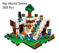 Model building blocks kits compatible with lego 21134 LP 18028 my worlds Minecraft Waterfall House Building Blocks