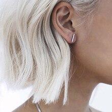 Fashion Gold Silver color Punk Simple T Bar Earrings For Women Ear Stud Earrings Fine Jewelry