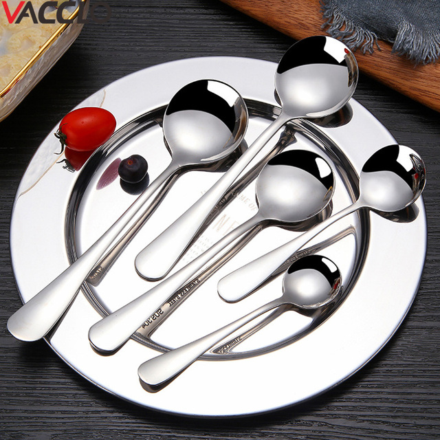 Us 0 85 21 Off Vacclo 1pc Stainless Steel Round Spoon With Long Handle Chinese Sliver Dessert Tea Coffee Spoon Kitchen Tools Soup Ladle Colher In