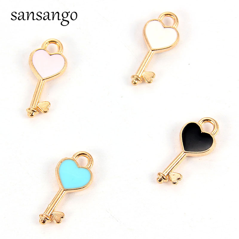 10pcs Charms Enamels Key/Love <font><b>Heart</b></font> <font><b>Lock</b></font> Alloy Pendant For Jewelry Accessories DIY Bracelet Necklace Cute Keychain <font><b>Earrings</b></font> Gift image
