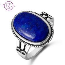 Mens and Womens 925 Sterling Silver Jewelry Ring Oval Natural Moonstone & Lapis White Chalcedony Gemstone Gift