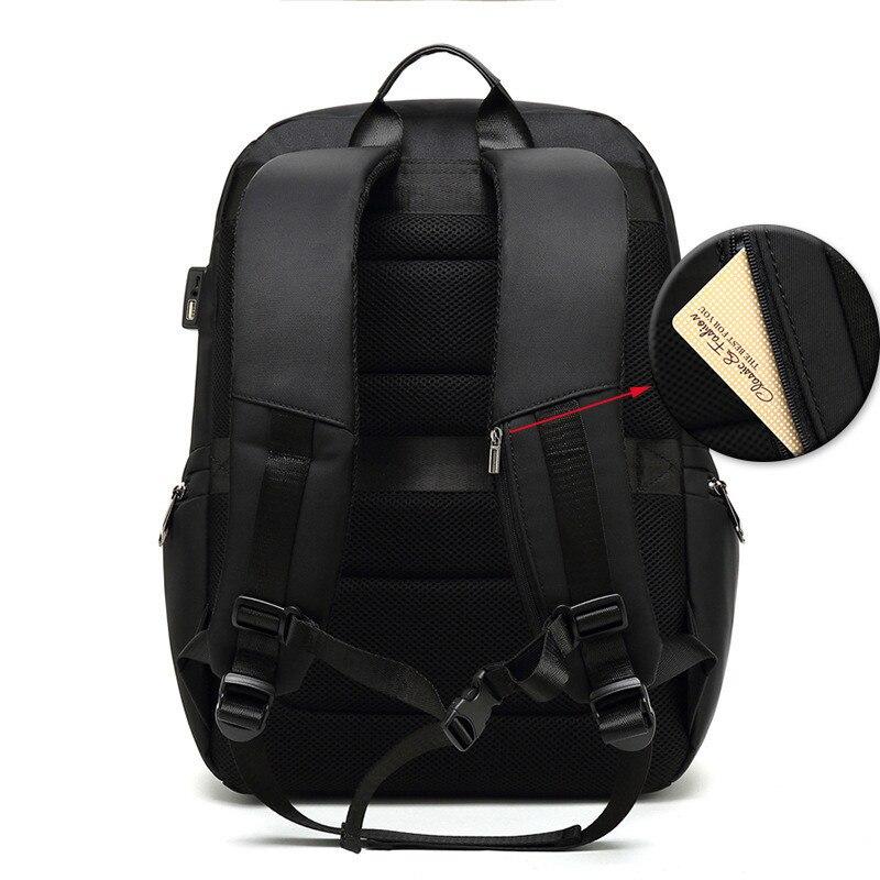 VM Модный деловой мужской 15,6 рюкзак для ноутбука для мужчин, студенток, женщин, школьный рюкзак с двумя плечиками, usb зарядка, рюкзаки для путе... - 3