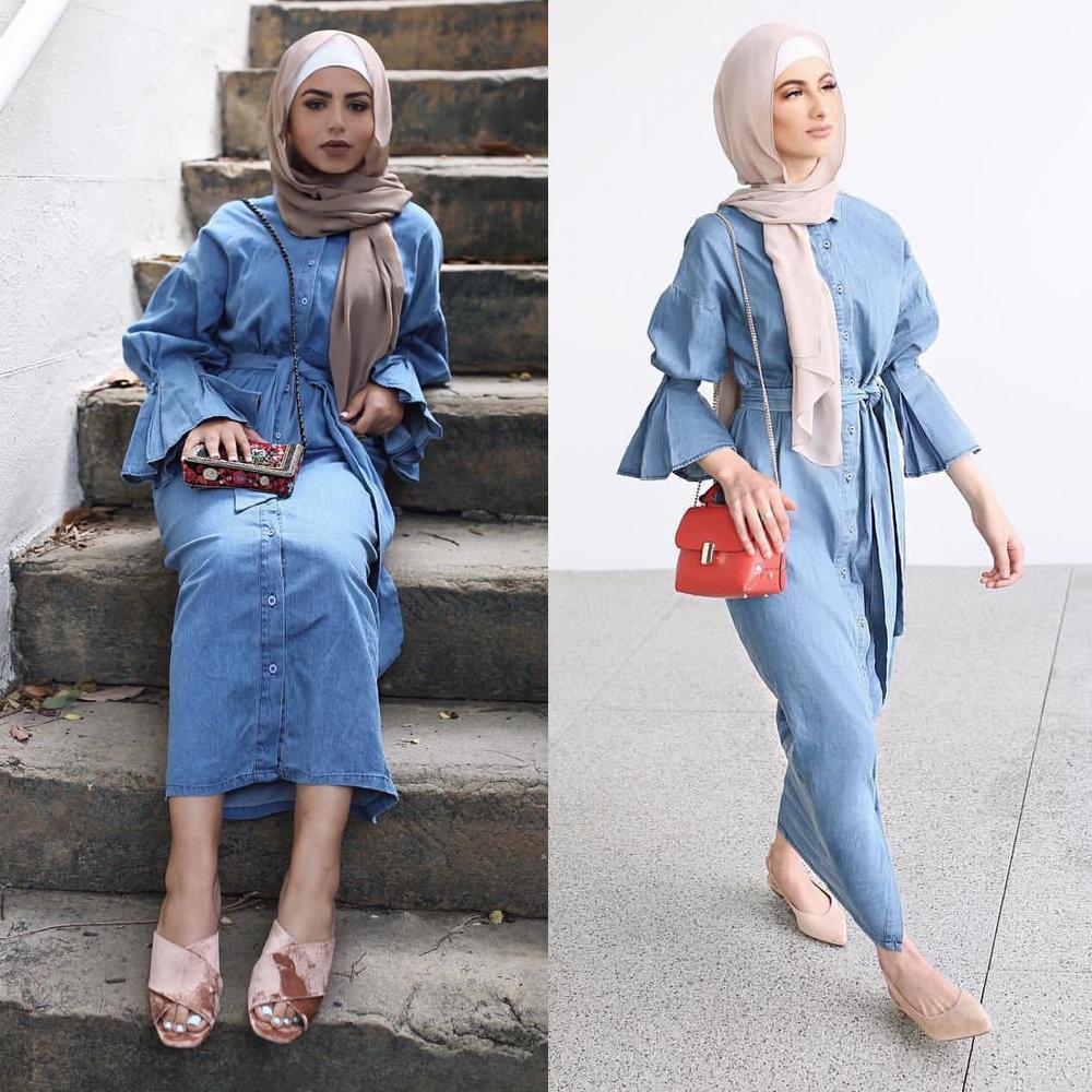 Denim Kaftan Dubai Abaya Kimono Muslim Hijab Dress Abayas For Women Robe Caftan Marocain Qatar Turkish Elbise Islamic Clothing