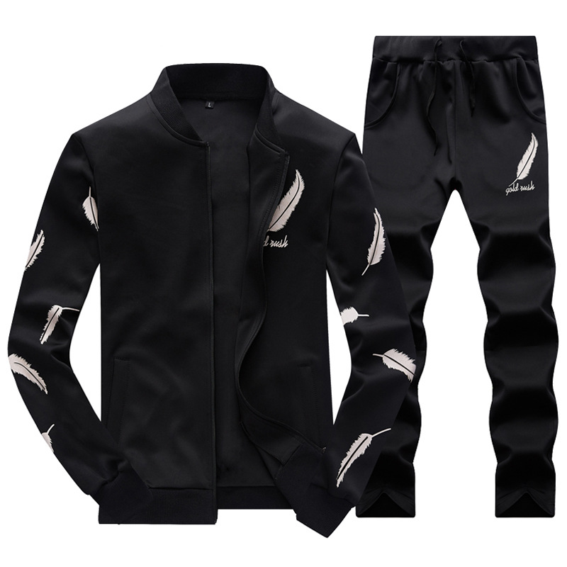 Male Casual Tracksuit Men 2 Piece  Set Stand Collar 1