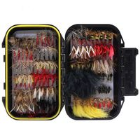 BMDT 120pcs Fly Fishing Dry Flies Wet Flies Assortment Kit with Waterproof Fly Box for Trout Fishing