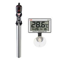 De acero inoxidable calentador de acuario con LCD Digital termómetro de resistencia termostato tanque de peces regulador ajustable de temperatura