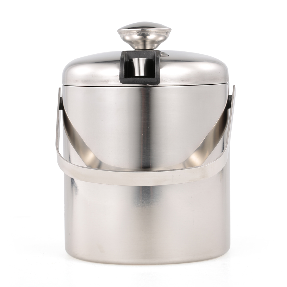 Stainless Steel Ice Bucket Cocktail Shaker Hand-held Wine Bucket Double Wall with Lid and Tong for Wine Bottle Parties Bar