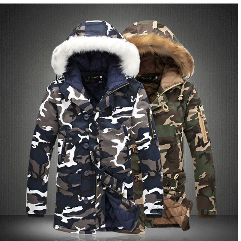 Winter Camouflage Jackets Men Fur Collar Thick Warm Jackets And Coats Outwear Windbreaker Plus Size S-5XL Coat Men Clothes