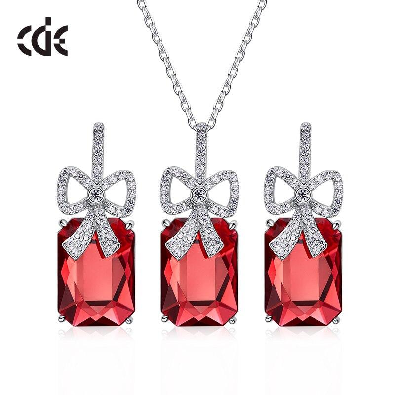 Ensemble de bijoux en argent Sterling CDE 925 femmes ornées de cristaux de Swarovski ensemble de bijoux de luxe nœud papillon cadeau romantique