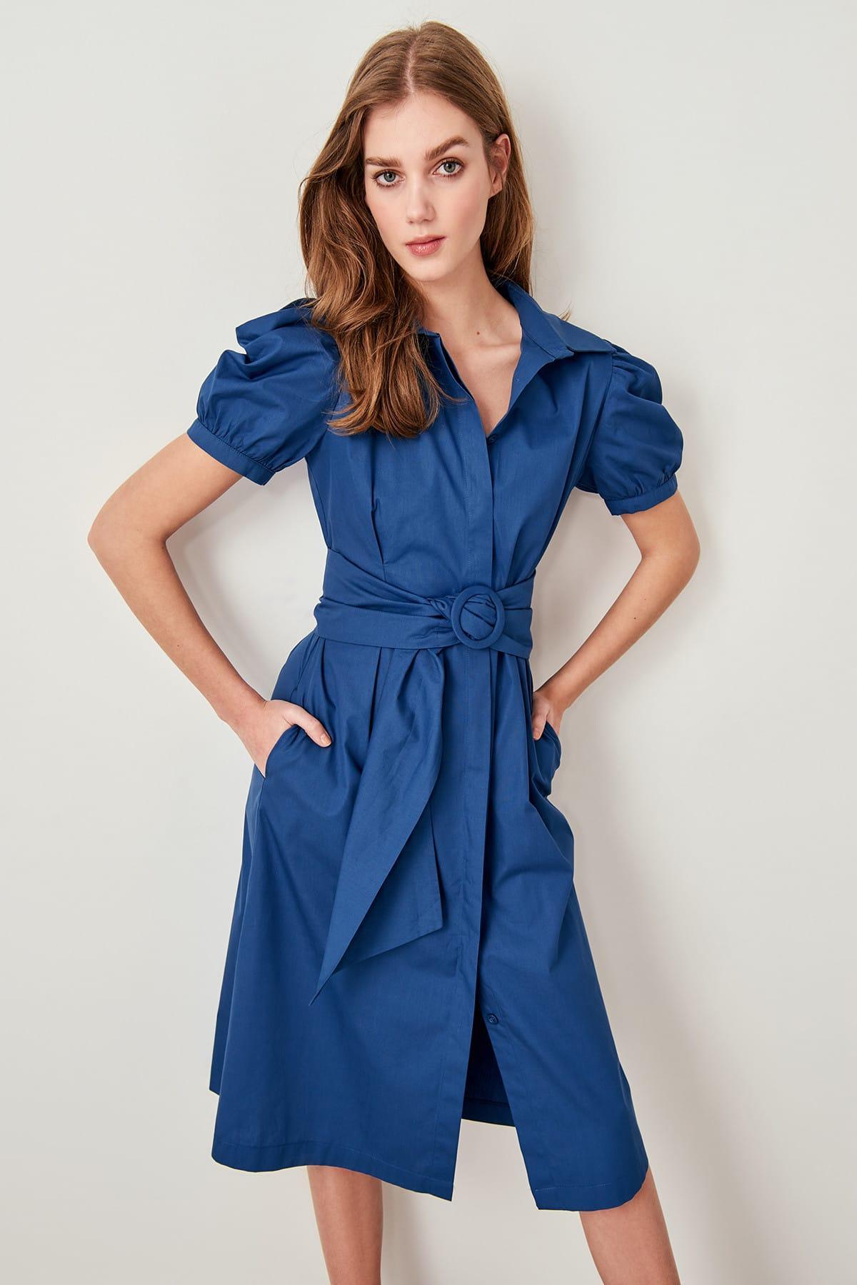 fd614936fe12d Trendyol Indigo Kemerli Balloon Sleeve Dress TWOSS19OC0016