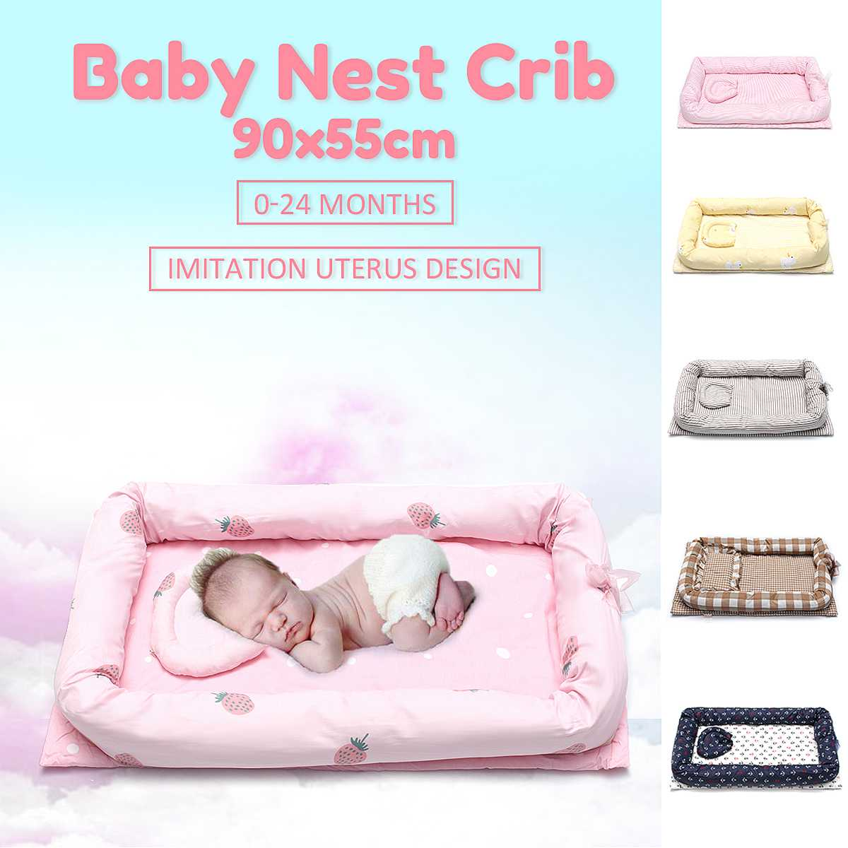 Multifunctional Baby Nest Crib with Pillow Infant Bag Portable Newborn Foldable Travel Bed with Bumper Cot Mattress 90x55x15cmMultifunctional Baby Nest Crib with Pillow Infant Bag Portable Newborn Foldable Travel Bed with Bumper Cot Mattress 90x55x15cm