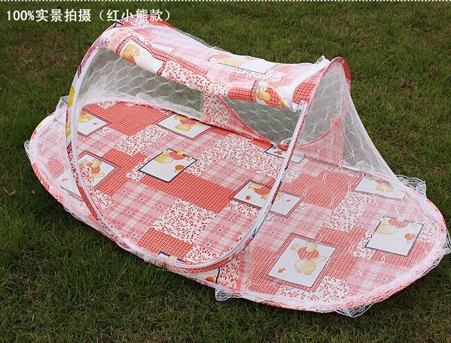 Høy kvalitet Foldbar Baby Myggnetting Rosa / Blå Bærbar Baby Barn Toddler Seng Crib Netting Summer Myggnett Telt Hytte