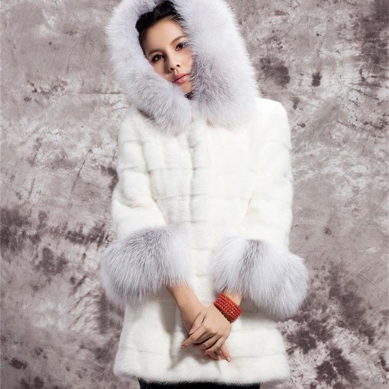 Capuchon Veste À La De Chaude Manteau Lapin Femmes Longue Fourrure Blanc Nouvelles Avec D'hiver xz1q78wB