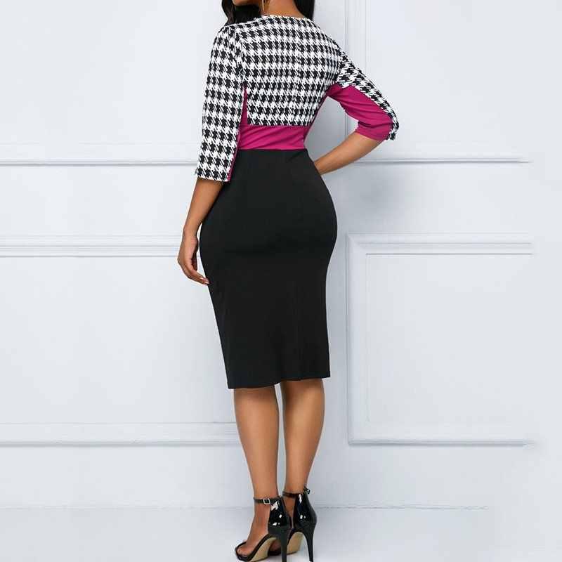 Женское летнее винтажное клетчатое облегающее платье Элегантное офисное с высокой талией синее модное лоскутное повседневное черное платье в африканском стиле большого размера