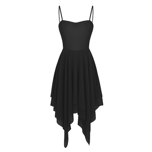 Image 4 - למבוגרים נשים אלגנטי עכשווי Dancewear בלט בגדי גוף לנשים ספגטי רצועת אסימטרית שיפון סלוניים שמלת ריקוד חדש