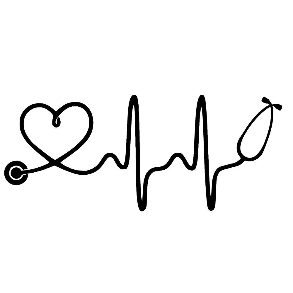 15*6.3cm Nurse Stethoscope Heartbeat Vinyl Decal Stickers Window Truck Car Novelty JDM Drift Car Accessories Car Sticker car