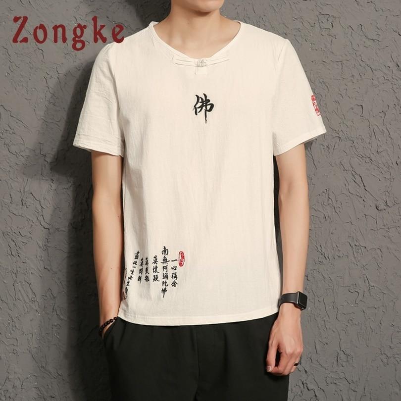 Zongke Chinese Style Cotton T Shirt Men Tshirt Men T-Shirt Men Funny T Shirts Harajuku Streetwear Hip Hop 5XL 2019 Spring New