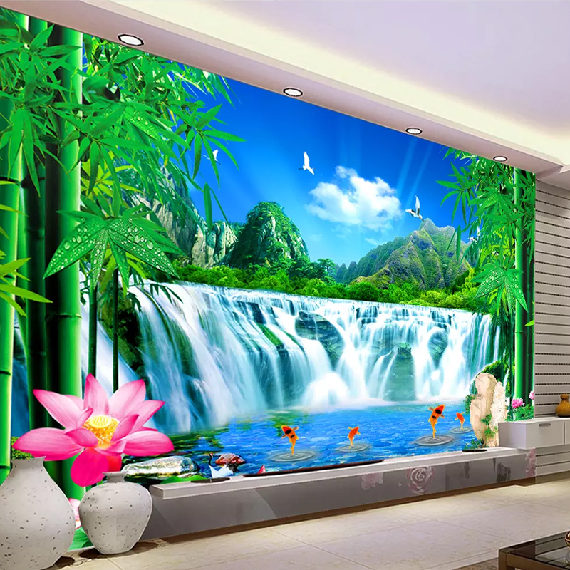 Mountain Water Waterfall Natural Landscape Large Mural Wallpaper Custom Size 3D Photo Wallpaper Living Room Bedroom Green Bamboo