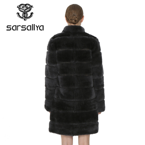 Image 5 - SARSALLYA Rex Rabbit Fur Women Coat  Detachable Overcoat Jacket Warm Winter Women Clothing Natural Fur Female Coat Jacket