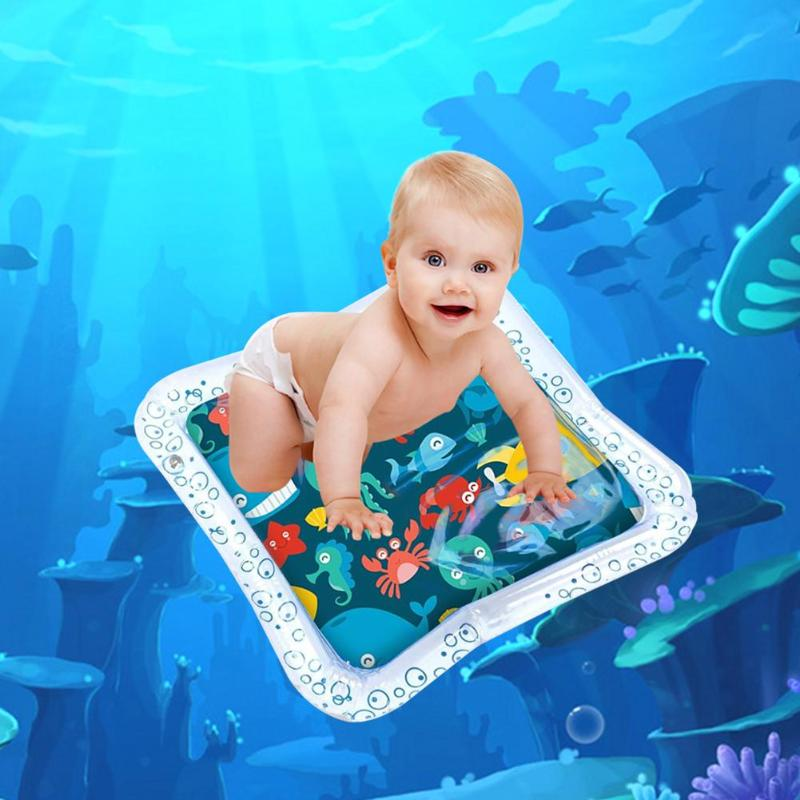 45x45cm Baby Kids Water Play Mat Inflatable Pad With Cute Floating Fish Toys Baby Learning Toys Summer Activity Play Cool Mat