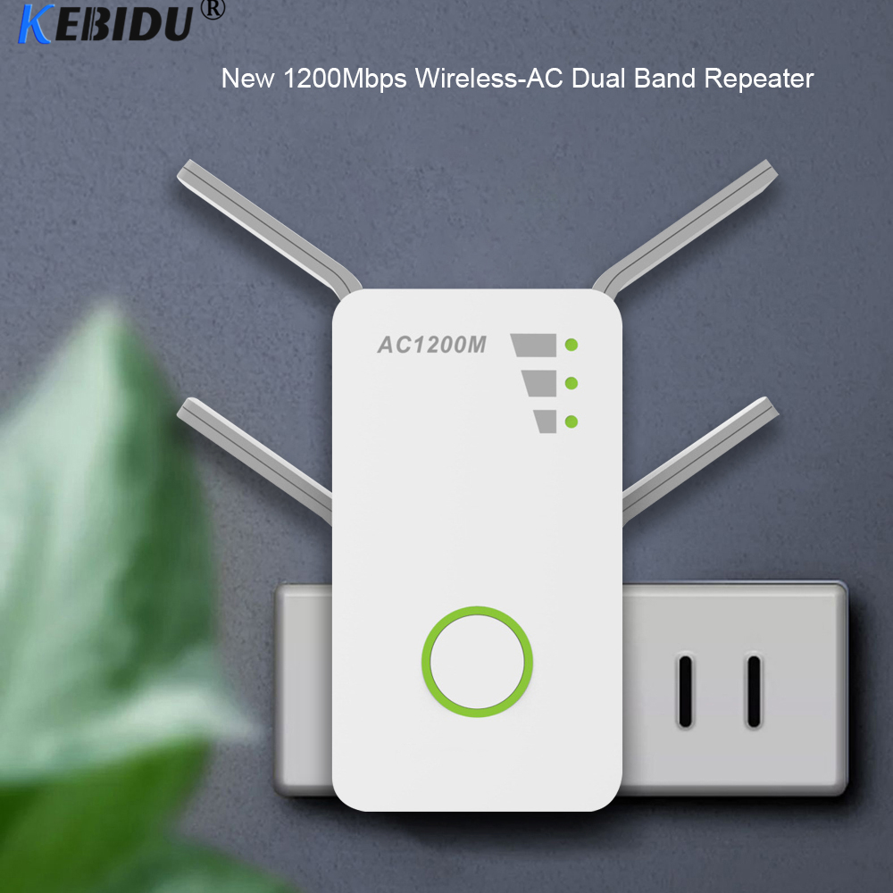 KEBIDU Extender-Wifi Repeater Antennas Signal-Amplifier Dual-Band 1200mbps Wireless-Ac