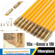 Fiberglass Cable Push Puller Running Cable Wire Kit Wall Electrical Cable Installing Rods Wiring Accessories 4mm x 1M 10Pcs/Set