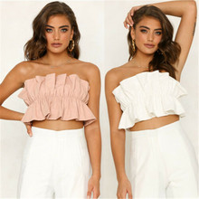 Summer casual lacing tube top womens sexy strapless vest fold backless cropped